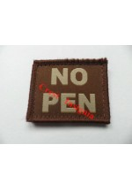 1582t 'NO PEN' velcro backed patch, tan.