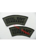 1124s, 'Royal Navy Commando' shoulder titles. Black/Olive. Pair]