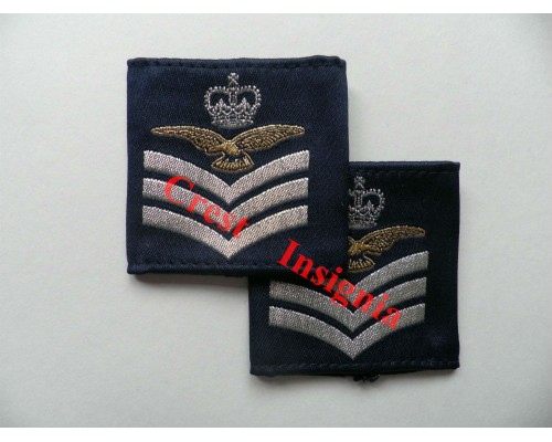 1167 RAF, Flight Sergeant [aircrew] rank sliders, pair.