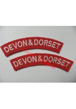 1728 Devon & Dorset, re-enactors shoulder titles, pair.