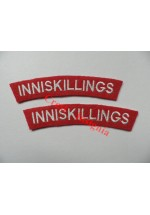 1734 The Inniskillings, re-enactors shoulder titles, pair.