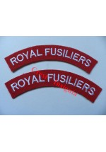 1735 Royal Fusiliers, re-enactors shoulder titles, pair.