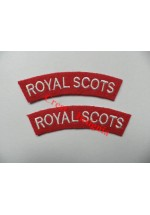 1736 Royal Scots, re-enactors shoulder titles, pair.