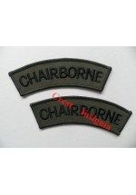 1750 'Chairborne'  spoof shoulder titles, pair.