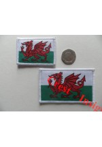 1813s Flag patch, Welsh Dragon, 40 x 55mm.