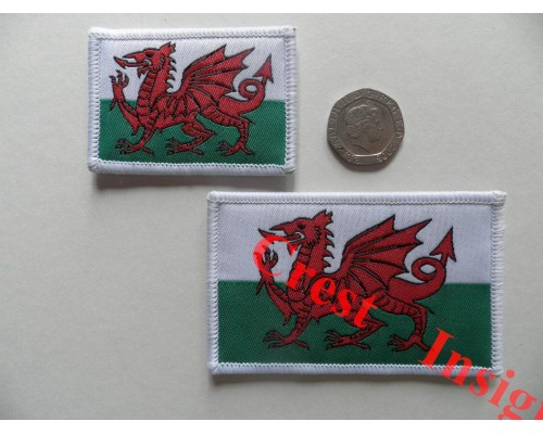 1813l Welsh Dragon flag patch.  50 x 80mm.