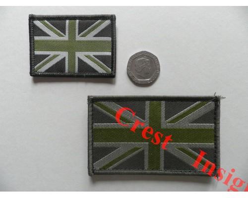 1821l Union Jack flag patch olive/MTP, 50 x 80mm.