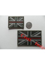 1823l 'Thin Red Line'  Army/Fire Brigade subdued Union Jack flag patch. 50 x 80mm.