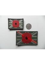 1831l Poppy/Union Jack flag patch, Olive. 50 x 80mm.