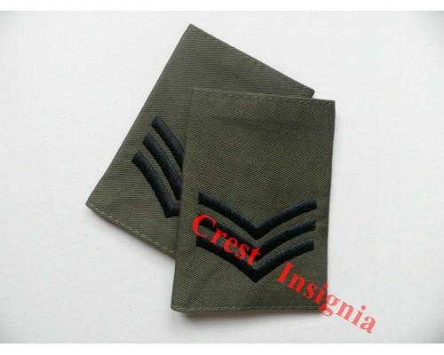 1003ol, UK Forces, Sergeant Rank Sliders. Black/Olive