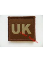 1560t 'UK' velcro backed ID patch, tan.