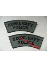 1123  'Royal Navy Police' shoulder titles, subdued. Pair.