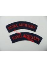 1701 Royal Artillery re-enactors shoulder titles, pair.