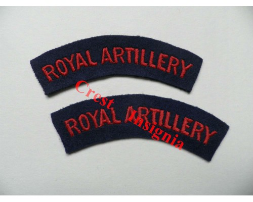 1701 Royal Artillery re-enactors shoulder titles, pair.