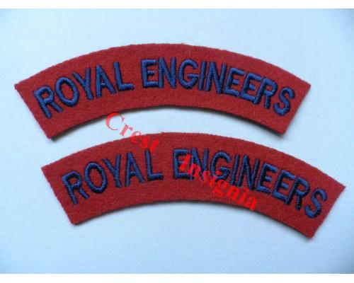 1702 Royal Engineers, re-enactors shoulder titles, pair.