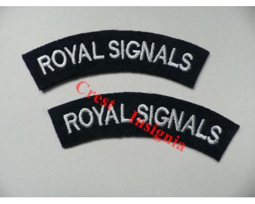 1703 Royal Signals, re-enactors shoulder titles, pair.
