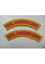 1704 Royal Armoured Corps, re-enactors shoulder titles, pair.