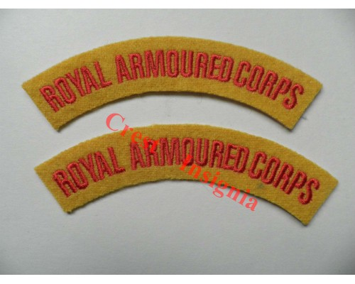 1704 Royal Armoured Corps, re-enactors shoulder titles, pair.