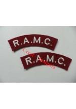 1705 R.A.M.C. re-enactors shoulder titles, pair.