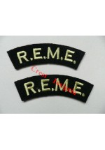 1706 R.E.M.E. re-enactors shoulder titles, pair.