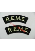 1706 R.E.M.E. re-enactors shoulder titles, pair.