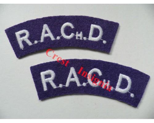 1708 Chaplains Department, re-enactors shoulder titles, pair.