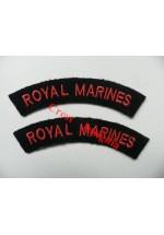 1715 Royal Marines, re-enactors shoulder titles, pair.