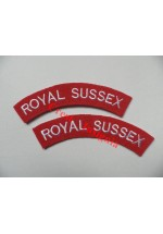 1727 Royal Sussex, re-enactors shoulder titles, pair.