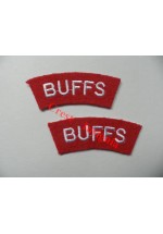 1729 'The Buffs' re-enactors shoulder titles, pair.