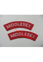 1731 Middlesex Regiment, re-enactors shoulder titles, pair.
