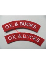1732 Ox & Bucks. re-enactors shoulder titles, pair.