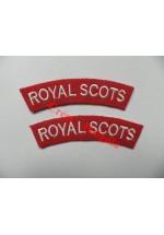 1736 Royal Scots, re-enactors shoulder titles, pair.