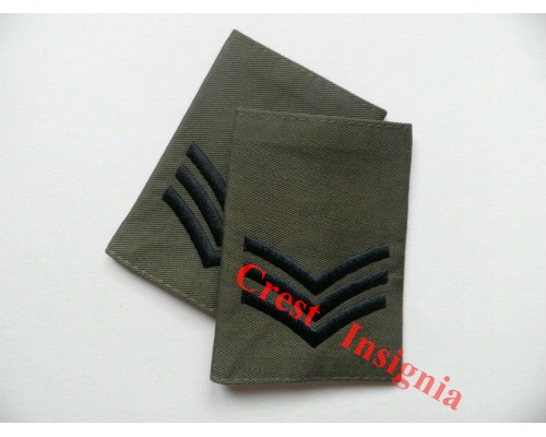 1003ol, UK Forces, Sergeant Rank Sliders. Black/Olive