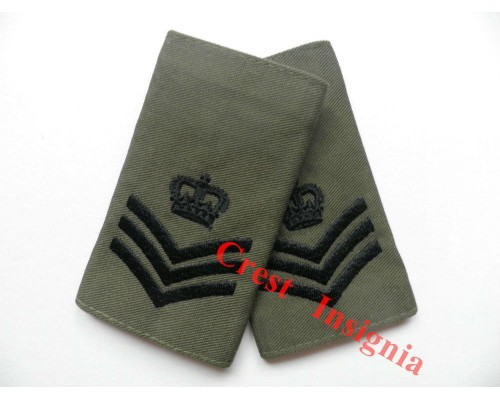1004ol, UK Forces, Staff/Colour Sgt. Rank Sliders, Black/Olive.